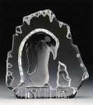 Mother & Baby Penguin Leaded Crystal Sculpture
