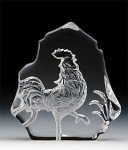 Rooster Leaded Crystal Sculpture