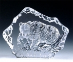 Bear with Fish Leaded Crystal Sculpture
