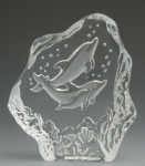 Dolphin Family Leaded Crystal Sculpture