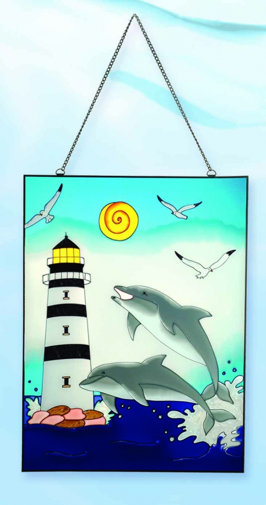 Dolphins & Lighthouse Stain Glass