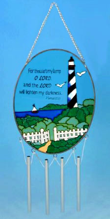 Stained Glass Lighthouse Wind Chime #C