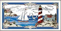 Joan Baker Designs Stain Glass Lighthouse Art Panel