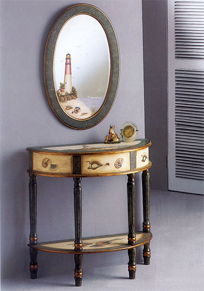 Hand Painted Lighthouse Mirror and Table Set