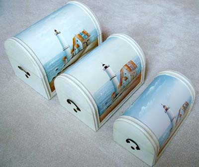 Set of 3 Hand Crafted Lighthouse Wood Trunks
