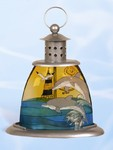 Dolphin and Lighthouse Stained Glass Candle Lamp